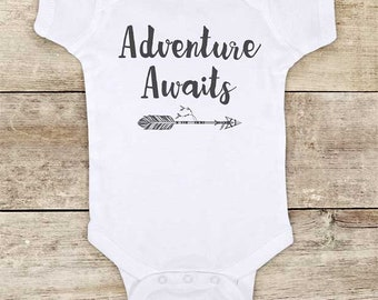 Adventure Awaits - boho hipster camping hiking mountains Baby bodysuit or Toddler Shirt or Youth Shirt - cute baby shower gift