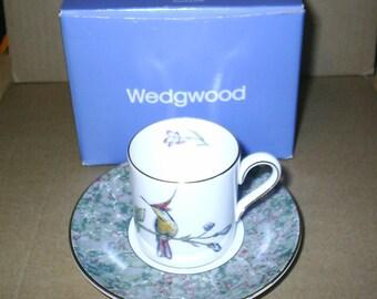 Wedgwood Hunnimg Birds Coffee Can & Saucer Boxed