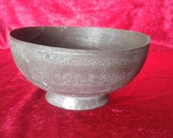 Classical Antique Hand Carved Ottoman Art Style Copper Bowl #1925
