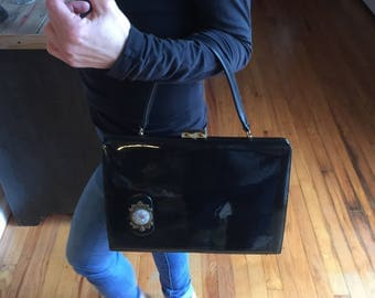 Vintage Black Patent Leather Handbag by Supreme
