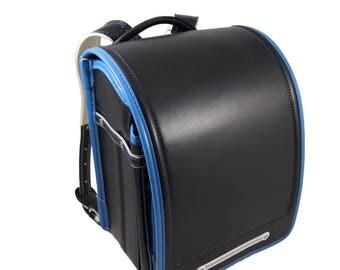 Japanese knapsack. 1.3 kg backpack. Blue/Black. Randoseru. Japanese school bag. Blue/Black. Light!
