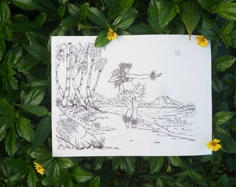Sea Front Succulents : Coloring Book Page Hula Girl