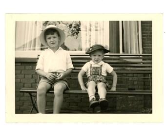Vintage photo - Children on bench - Original Vintage Photos from PhotoTrouvee - 1950s found photo