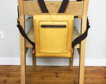 Yellow backpack, Leather rucksack, Safe backpack, Traveling backpack, Juvenile rucksack, Yellow leather, Practical backpack