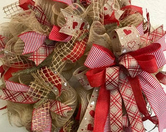 Large Deco mesh With Burlap Valentine Wreath