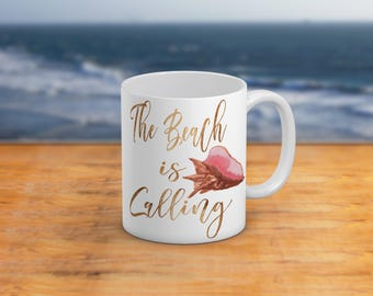 The Beach Is CallingBeautiful Shell 11 Oz And 15 Oz Coffee Mug NauticalBeach Themed Home Decor