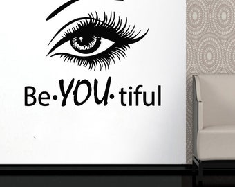 Wall Decal Window Sticker Beauty Salon Woman Face Eyelashes Lashes Eyebrows Brows t661