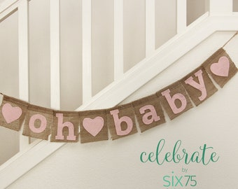 "Burlap Banner - ""oh baby"""