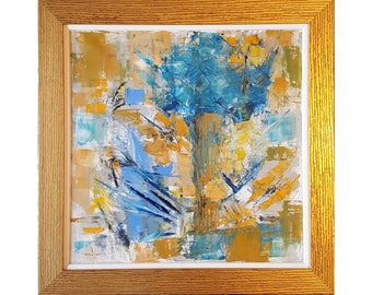 "Original Painting Modern Painting Abstract Painting Wall Art "" Blue Flowers "" 50 x 50 cm. MADE to ORDER by GERINASART"