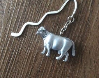 Silver Cow Bookmark/Cattle bookmark/Animal bookmark/book lover gift/animal lover gift /bookmarks/silver bookmark/reading book accessories
