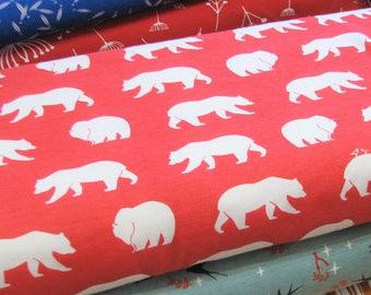 1/2 YARD Birch Organic Knit, Bear Hike, Coral, Knit