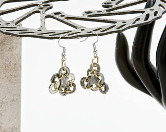 Tri-overlay Bicycle Chain Earrings
