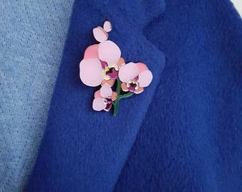 Wild Orchid flower brooch