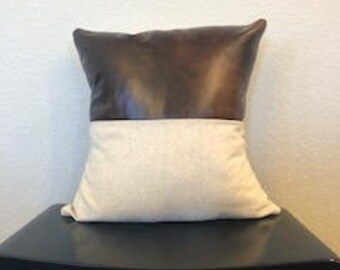 Faux Leather and Linen Pillow Cover, 18x18 inch