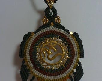 Handmade Macrame Om brass Pendant Necklace