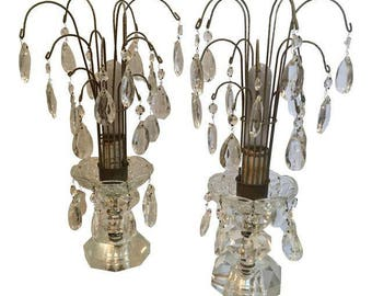 Antique Crystal Waterfall Table Lamps - A Pair