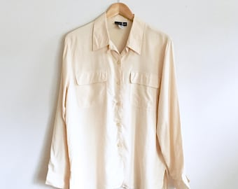 Julia Blouse | Silk Vintage Button Up | 100% Silk Minimalist Buttery Long Sleeve Top | XS-S-M-L