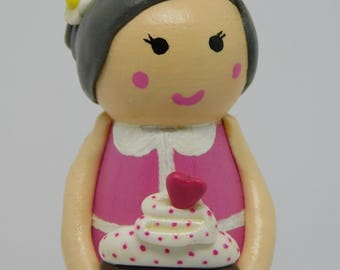 Cake lady peg doll