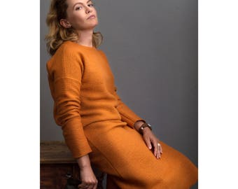 Orange midi wool dress/ Long wool dress/ Dress for everyday/ Long sleeve wool dress/ Orange maxi dress/ Winter dress