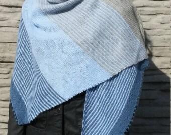 Hand knit shawl Triangle shawl Asymmetrical shawl Multicolor blue grey shawl Rustic shawl Warm shawl Knit wrap Warm wrap Gift for woman