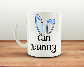 Gin Bunny Mug, Gym and Tonic Mug, Gin Gift, Funny Mug, Gym Bunny, Funny Gift for Her, Easter Mug, Gin Mug, Alternative Easter Gift for Her