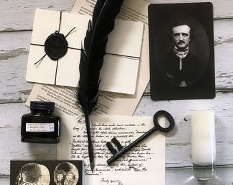 Edgar Allan Poe's Kit: Writer Gift Box w/ Quill & Ink, Leather Journal, Raven Poem, Skeleton Key; Vintage Box, Gift Crate, Notecard and Key