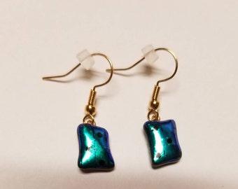 BLUE/GREEN dangle earrings with polka dots
