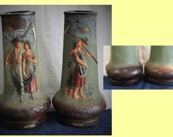 "pair large vases chimney tonight,-morning""plaster A41"