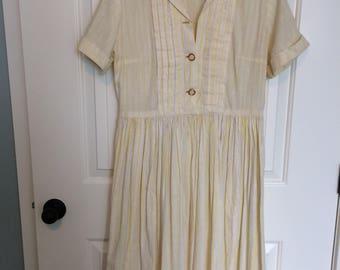 Yellow Cotton Shirtwaist Dress