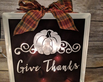 Give Thanks - Thanksgiving Decorative Glass Box