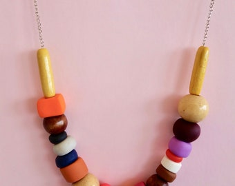 Polymer Clay Wooden Bead Necklace