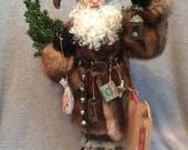 Handmade Santa on etsy -SALE- OOAK  Hand Sculpted Santa by Nonna's Santas - Father Christmas - Fur Santa
