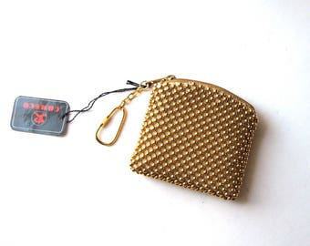 vintage gold mesh coin purse NWT NOS . gold ball mesh, domed mesh keychain bag by Comeco, 80s 90s