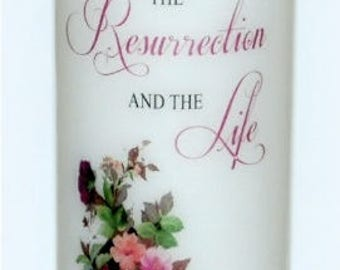 I AM the resurrection and the life, John 11:25, Christian inspirational candle keepsake designs underneath the wax, personalize your candles