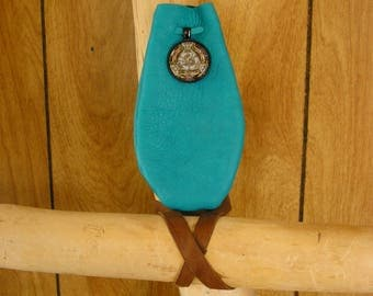 "Dragonfly leather pouch, turquoise leather with leather drawstring, glass charm, pouch is 5"" x 3"""