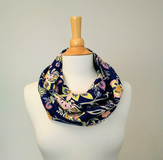Floral Infinity Scarf Navy blue flower scarf loop scarf botanical infinity scarf fall fashion accessory gift for her cotton scarves