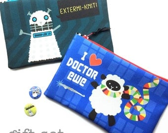 Dr Ewe Knitter Gift Set, zipper bags, 13th Doctor, Dr Who