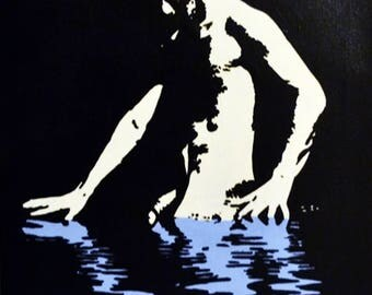 """Male Nude #68 Reflections In Blue Acrylic Painting 20x16"""""""