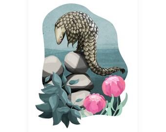 Pangolin Illustration Art Print - Pangoline art decor home wall art nursery A4 / A3 /  8 x 10 / A5 - print
