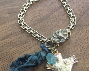 Vintage HEART MILAGROS Charm Bracelet with RECYCLED Sari Silk and Apatite Gemstone