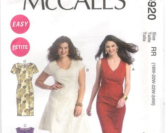 McCall's 6920 Size 18W, 20W, 22W, 24W Women's plus pattern: V-neck or round neck dress with shoulder princess seams.  Flared or pencil style