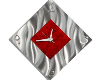 SALE! Red & Silver Modern Metal Wall Clock, Contemporary Functional Art, Abstract Home Decor, Metal Wall Accent - Fresh Start by Jon Allen