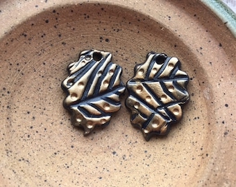 Polymer Clay Leaf Charms | Polymer Clay beads | Fall Colors | Dark Blue and Copper  | Handmade jewelry components | Nathalie Lesage
