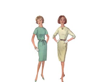 60s uncut Sheath Dress Pattern vintage SALE 33-24.5-34.5 XS Belted Waist Dress pattern Shift Dress pattern Bust 33 Simplicity 5042