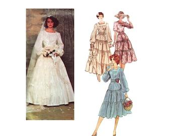 70s Belleville Sassoon Wedding Dress pattern Vogue Designer Original vintage 34-25-36 Maxi Dress pattern Prairie Gunne Sax Style Vogue 1251