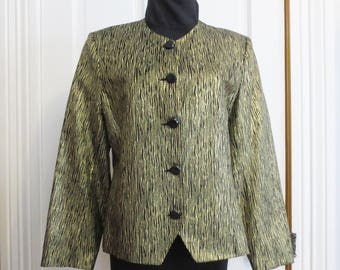 Vintage Blazer 80s 90s Size 12 Gold Metallic Fabric Black Shoulder Pads Long Sleeve Jacket Stage