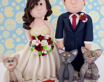 Cat cake topper with Bride and Groom.  Custom cake topper with pet. Cats Wedding cake topper.  Personalized Cake topper. Kitty cake topper