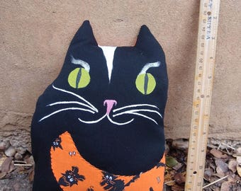 Vintage Fabric -  Hand Painted -  Handmade Plush Black Halloween Cat Plushy by Ugly Shyla - Cat plushy - cat doll - Kid Friendly  - Pillow