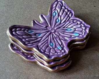 THREE Ceramic Butterfly Ring Dishes Purple edged in gold small