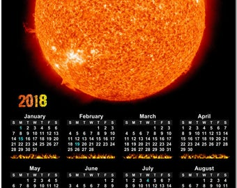 """The Fiery Sun 2018 Full Year View 8"""" Calendar - Magnet or Wall #3863"""